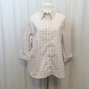 Lands End Purple White Checkered Top 16